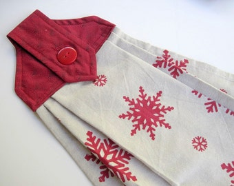 Button top towel  oven door towel  fall Red Snowflakes linen towel Quiltsy handmade