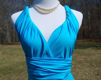 USA, TURQUOISE.,  convertible bridesmaids dress, infinity dress, wrap dress