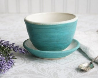 Yunomi Teacup with Saucer in Turquoise and White Glazes Handmade Tea Cup Rustic Pottery Made in USA