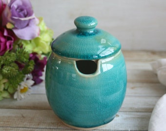 Handcrafted Stoneware Honey Pot Sugar Bowl in Crackle Turquoise Glaze Made in USA Ready to Ship