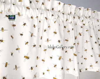 Bee Valance Honey Bee Collectors Dream Decorative Kitchen Curtain by Idaho Gallery
