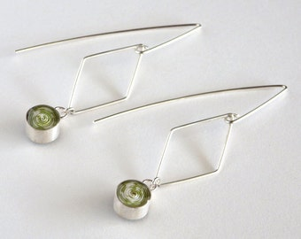 Diamond Wire Earrings with Green Paper Bead / Sterling Silver or 14k Gold Filled / Paper Jewelry / Gifts for Her / First Anniversary