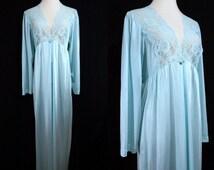1970s Turquoise Robe Peignoir Nightgown Nylon Lace Button Maxi Medium Large Gilead