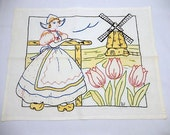 vintage embroidery, doily, home decor, pillow cover, Dutch scene, Netherlands, tulips, windmill