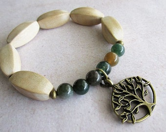 Wooden Tree of Life Stretch Bracelet | Yogi Beaded Bracelet | Hippie Boho Earthy Rustic Style Jewellery | Gift for Her | Jasper Gemstone