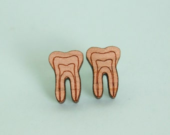 Tooth Earrings Laser Cut Wood Dental Jewellery Dentist Jewelry Teeth Earrings