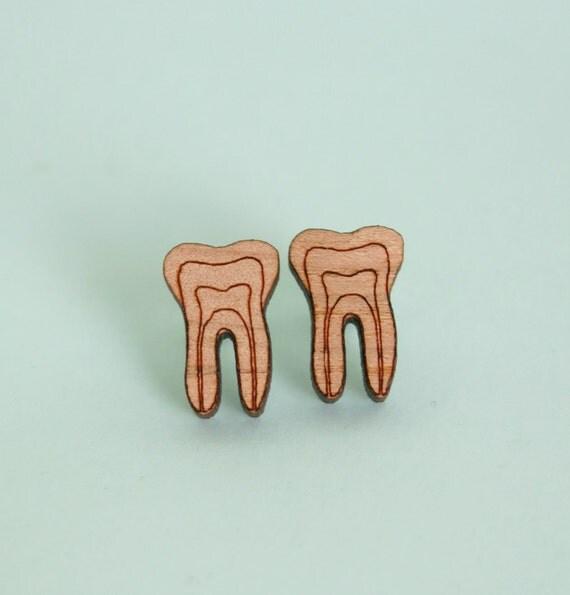 Tooth Earrings Laser Cut Wood Dental Jewellery Dentist Jewelry Teeth Earrings