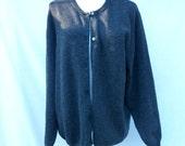 90s Gray Cashmere Sweater size Medium Large Eddie Bauer Cardigan