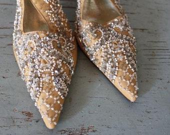 vintage 1920s style ZELDA beaded heels / size 7.5 shoes