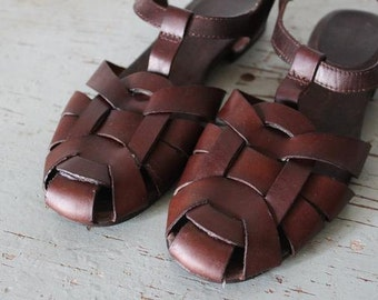 vintage woven leather CIRCULARITY sandals size 8 shoes