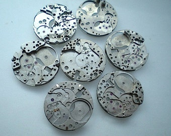 Vintage steampunk watch parts, 7 watch back plates (L58)