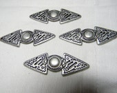 Cape Cloak Jacket Clasp-Antiqued Silver Metal-Tribal Primitive Designs - Sew on