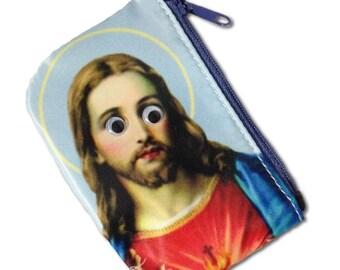 Jesus googly eye coin purse