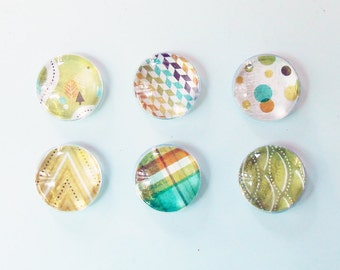 "1"" Round Super Strong Glass Magnets, Set of 6: Color Pop Dots - Happy Camper"