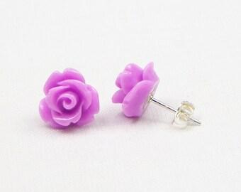 Orchid Resin Rose Earrings - Sterling Silver - 10MM - Stud Earrings - Flower Earrings - Resin Earrings - Gift