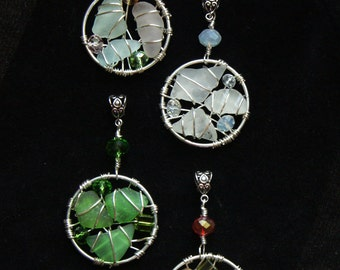 Sea Glass Pendant Set in the Colors of the Four Seasons --- Double as Suncatcher