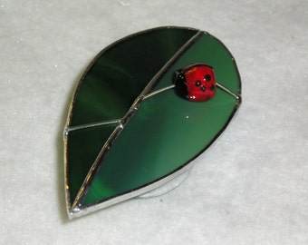 Ladybug Leaf Suncatcher in Stained Glass