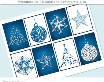 "Winter Christmas Blue White 2.5"" x 3.5"" for Printable Gift Tags Jewelry Holders Scrapbooking Cardmaking Digital Collage Sheet Images"