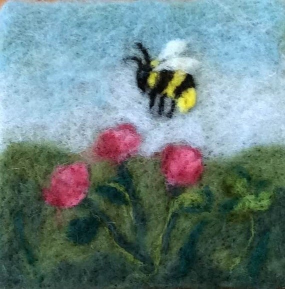 "018 ""Bumble Bee"" Thyme Tile Needle Felting Pattern Kit"