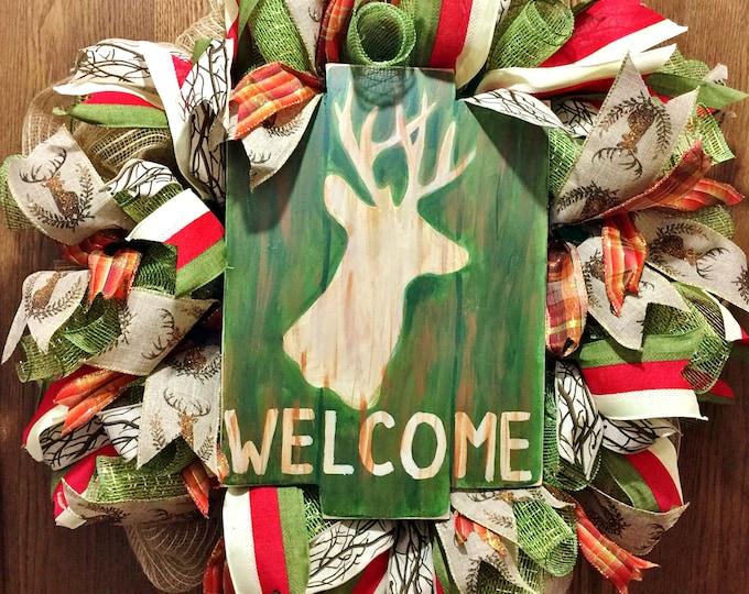 SALE- Welcome Deer Hunting Antlers - Welcome Door Wreath