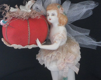 Altered Art Ballerina pincushion, ballerina pincushion