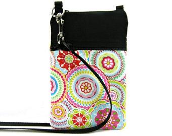 Fabric Sling Bag, Small, Colorful Floral, Bold Flower, Mini Hipster, Crossbody Bag, Zipper, Gadget, Travel Purse, Pouch, Zipper Purse