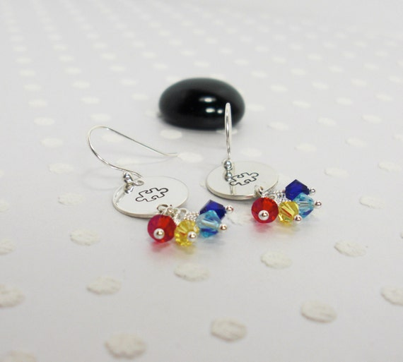 autism awareness earrings autism puzzle by justduckiedesigns