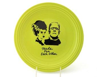 SALE - Mr. and Mrs. -  Frankenstein Halloween Wedding Gift Can Be Personalized , bride of frankenstein ,  ceramic serving dish