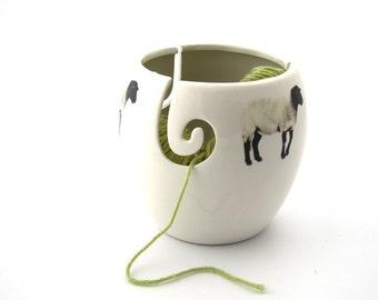 Large yarn bowl,knit bowl, wool lamb, BLACK sheep,  crochet bowl, great gift for crafters, knitters, ceramic yarn bowl