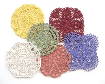 Colorful Crocheted Coasters Mug Mats Doilies Glass Mats Country Decor Cottage Decor Dining Table Decor Drink Coasters Set of Six