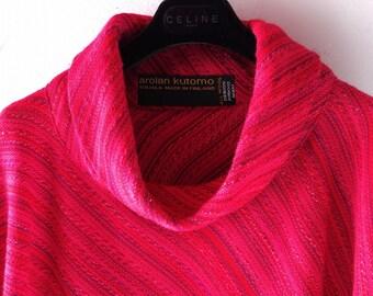 Hand Woven Wool Poncho - Arolan Kutomo Finland - Pirkko Maki - 1960s 1970s Hippie Chic - Dark Magenta Cowl Neck w/ Woolen Fringe sz S Med