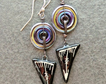 Tribal Gypsy Glass and Ceramic Colorful Disc and Dagger Earrings, Bohemian Earrings Sterling Silver and Glass