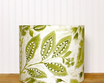 Lamp Shade - Drum Shade - Lampshade - Olive Lamp Shade - P Kaufmann - Green Drum Shade - Floral - Tranquil