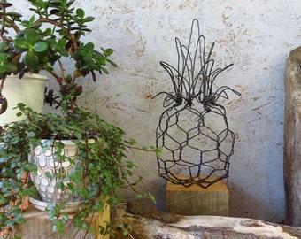 Pineapple Sculpture, Handmade, Wire