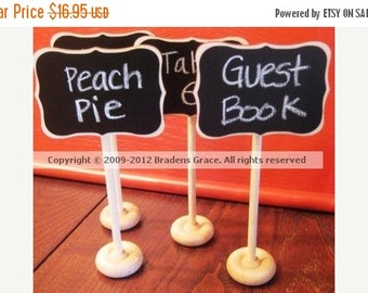 Get Organized SALE- 4 Mini Chalkboard Table Stands-FANCY Style-Buffet Labels, Chalkboard Signs, Wedding Chalkboards, Chalkboard Label Stands