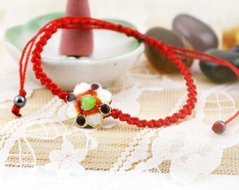 Oriental cloisonne bracelet - red thread