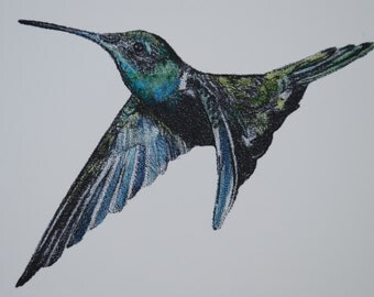 Hand painted photo polymer relief of hummingbird in flight