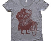 Womens Chicken Bicycle T-Shirt Rooster Farm Shirt - Tri Grey American Apparel T Shirt