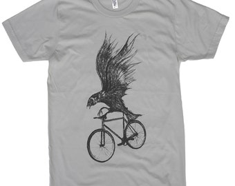 Mens Black Bird on a Bicycle - American Apparel Asphalt New Silver TShirt - Available in XS, S, M, L and Xl
