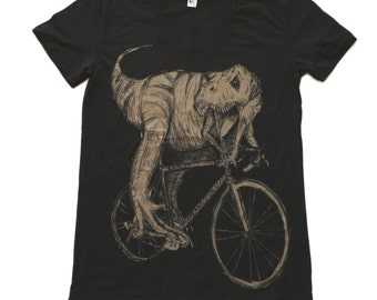 Tyrannosaurus Rex on a bicycle - Womens T Shirt, Ladies Tee, Tri Blend Tee, Handmade graphic tee, sizes s-xL