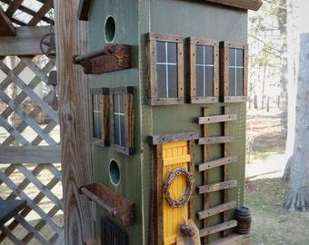 Folk Art Primitive Saltbox Spring Garden Green CounTry Farm Rustic Birdhouse