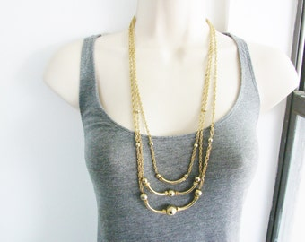 Vintage gold triple chain beaded cocktail necklace (U)