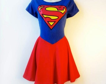 Supergirl Dress Plus Size // Supergirl Costume Rockabilly Pin Up Nerd Girl Dress // Supergirl Halloween Comic Con Costume