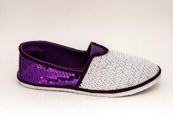 Sequin   Two Tone Grape Purple and White Alpargata Canvas Classics Slip On Shoes
