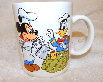 "Disney Collectible Mug Mickey and Donald Duck ""Treasure Craft""  Made in USA"