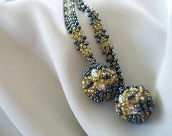 Beaded Lariat Necklace Tassel Art Deco Hematite Amber Seed Beads Ball Tassel 1930's