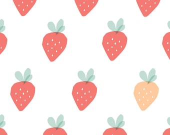 Fabric Wall Decal - Strawberries (reusable) NO PVC