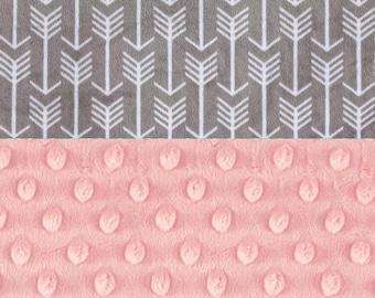 Minky Baby Blanket Girl, Silver Gray Pink Arrow Personalized Baby Blanket - Newborn Gift