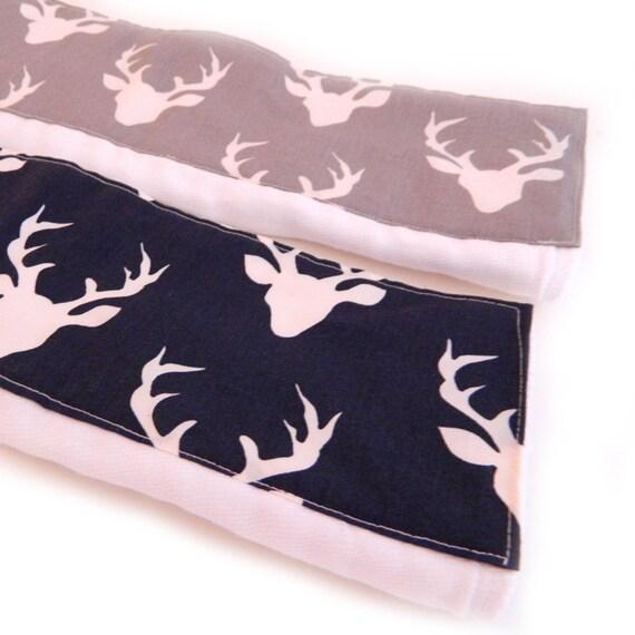 Deer Burp Cloths, Navy Gray  Animal Boy Burp Cloth - Diaper Burp Cloth set of 2 // Animal Burp Cloth // Baby Shower Gift / Cotton Burp Cloth