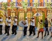 Bourbon Street Second Line New Orleans - Large Original Oil Painting by Prankearts
